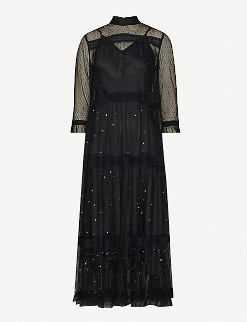 ALLSAINTS Nima embellished mesh dress