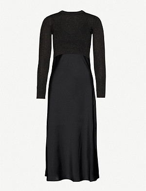 ALLSAINTS Kowlo satin and stretch-knit midi dress