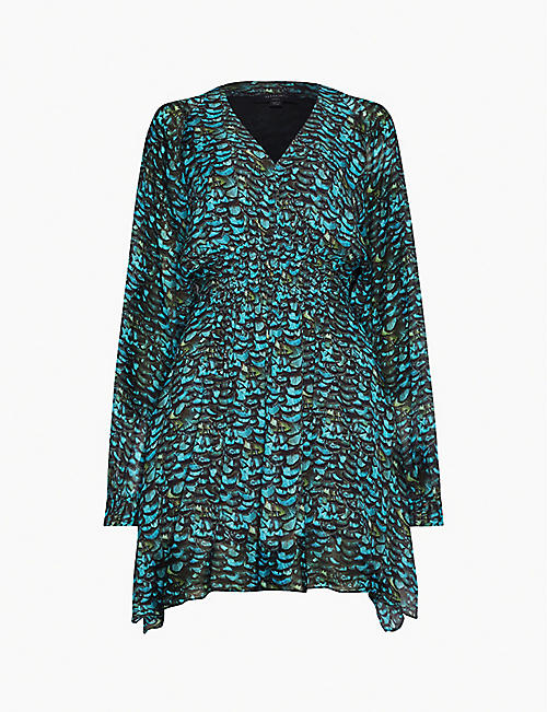 ALLSAINTS Nichola graphic-print crepe dress