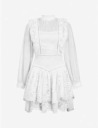 ALLSAINTS: Aislyn Broiderie high-neck embroidered cotton dress