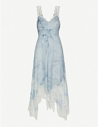 ALLSAINTS: Skylar Hatsukoi lace-trimmed printed satin midi dress