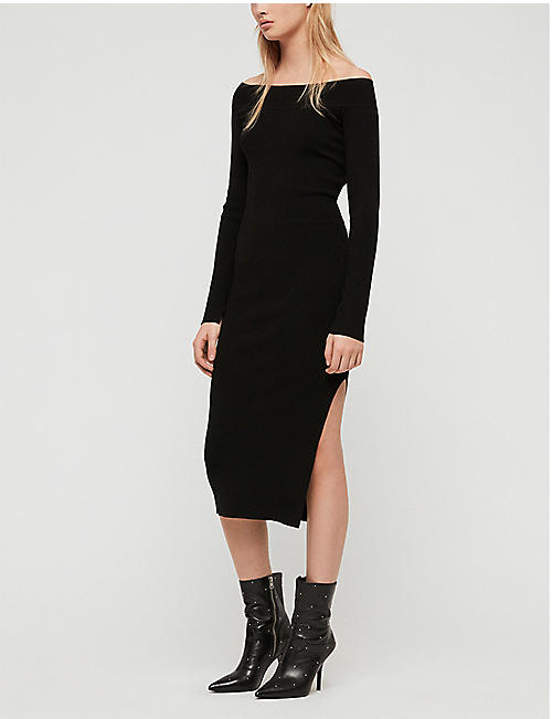 ALLSAINTS Alyssa side slit bodycon knitted jersey dress