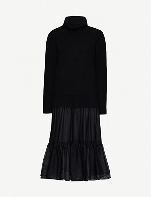 ALLSAINTS Tula pleated-skirt crepe midi dress