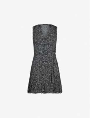 ALLSAINTS Krystal splash-print crepe wrap dress