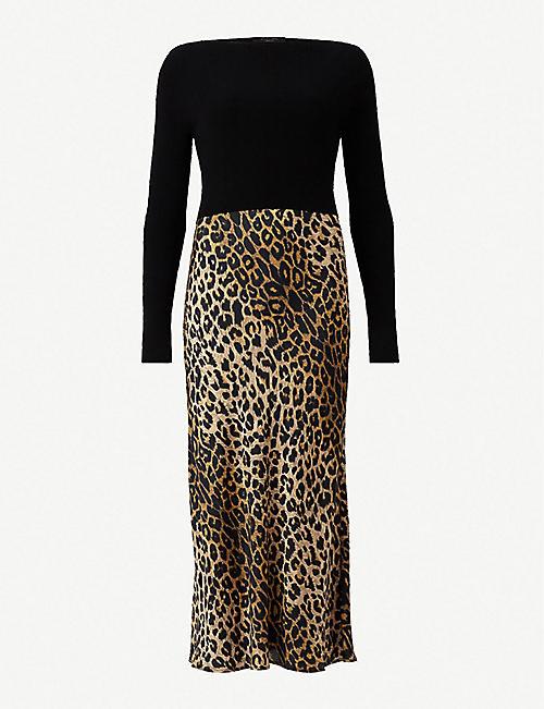 ada8cc201c ALLSAINTS Hera jumper overlay leopard print dress