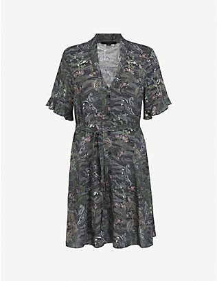 ALLSAINTS: Fay Paradeep V-neck crepe mini dress