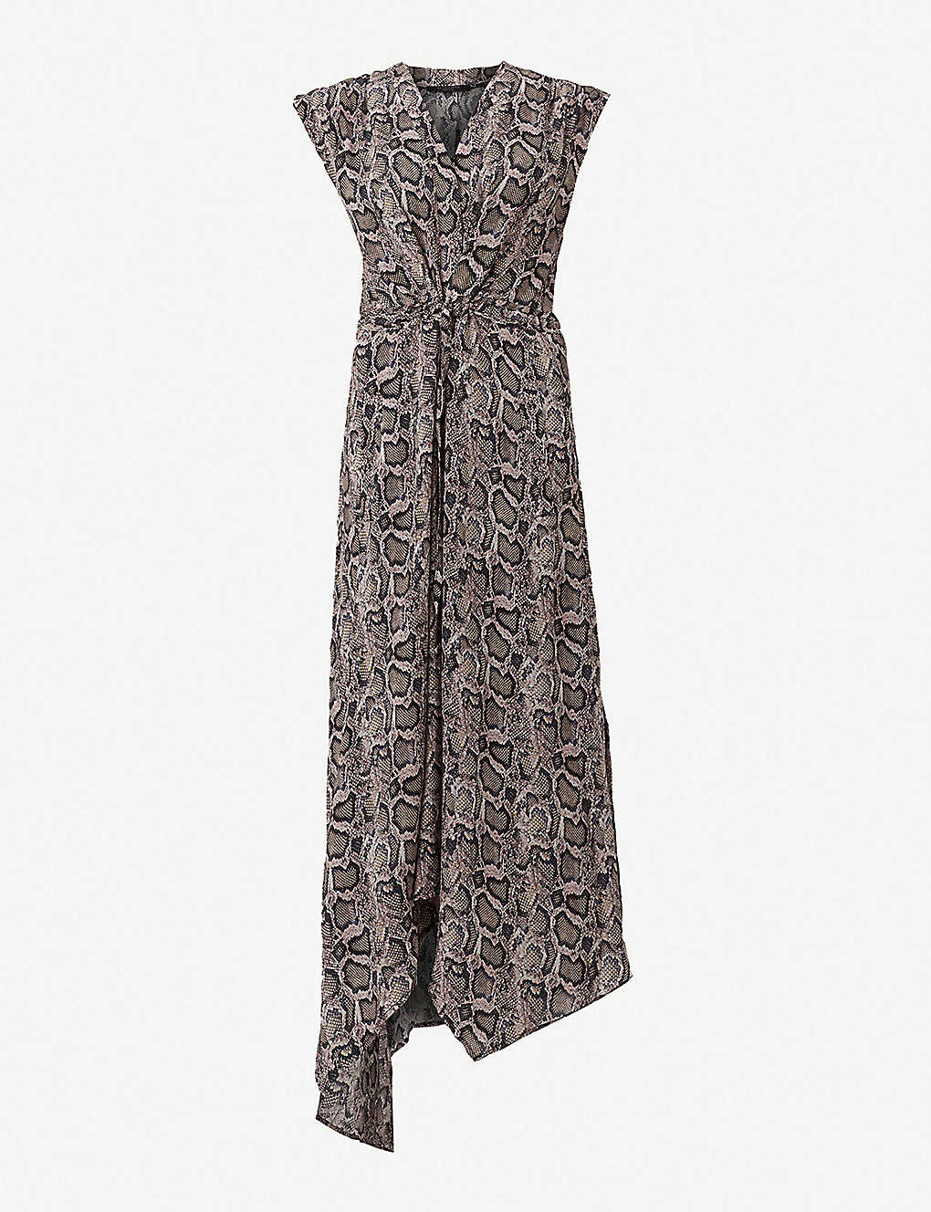 bcbfbef292bb ALLSAINTS - Tate Misra snakeskin-print crepe maxi-dress | Selfridges.com