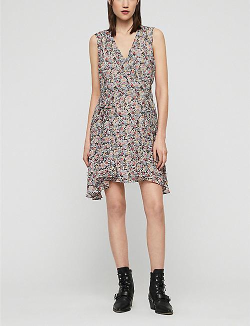 59ba729db91 ALLSAINTS Miller floral-print chiffon mini dress