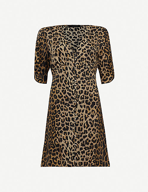 f288e1179c5 ALLSAINTS Kota Leppo leopard-print crepe midi dress
