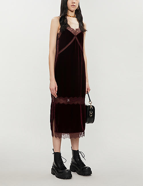 ALLSAINTS Noa sheer floral-lace velvet dress
