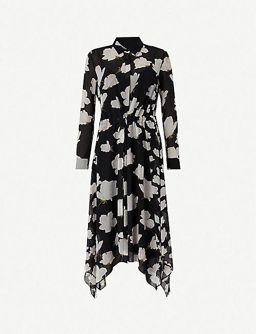 6605bf1d78 ALLSAINTS Riva Caro asymmetric-hem floral-print crepe dress