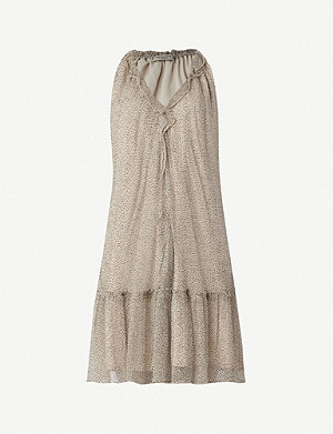 ALLSAINTS Maisie frill-trimmed speckled crepe dress