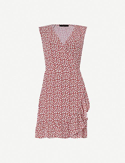 9149b51458c ALLSAINTS Krystal Scatter frill-trimmed crepe wrap dress