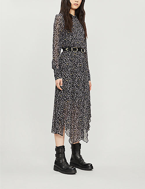 ALLSAINTS Valeria animal-print crepe midi dress