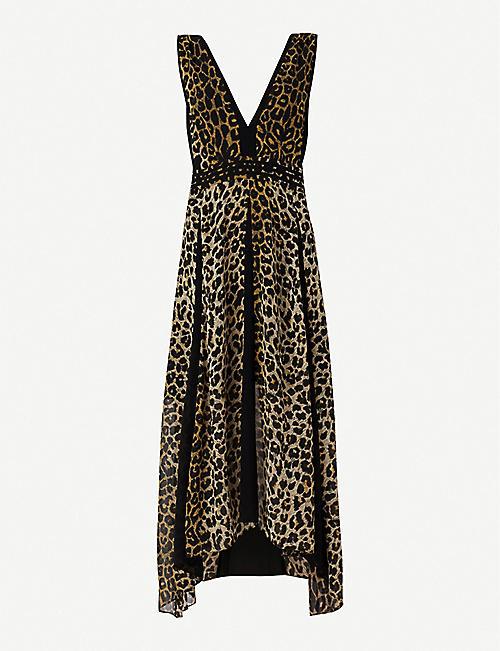 f1eb8307276 ALLSAINTS Macella Leppo leopard-print crepe midi dress
