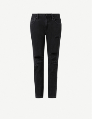 ALLSAINTS Alana distressed boyfriend-fit low-rise jeans