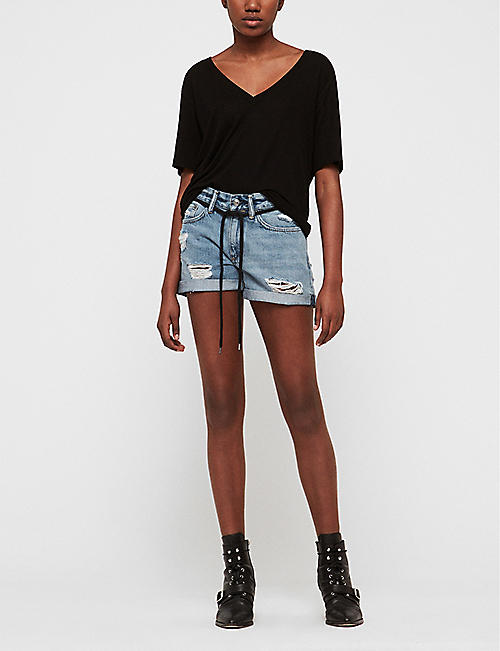 ALLSAINTS Blaire destroyed denim boyfriend shorts