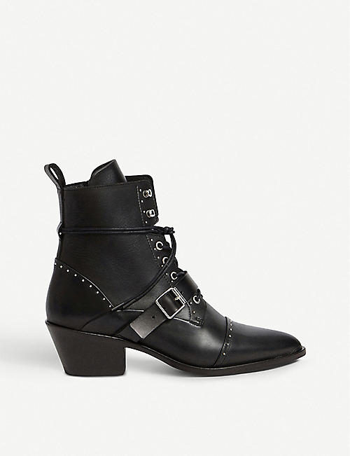 7c8119abaf1 ALLSAINTS Katy studded heeled leather boots