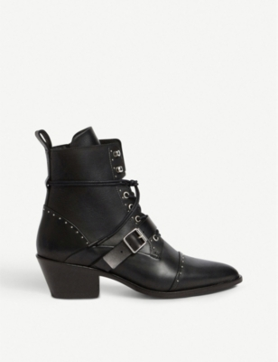 ALLSAINTS Katy studded heeled leather boots