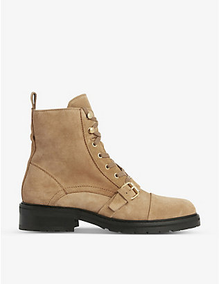ALLSAINTS: Donita lace-up suede boots