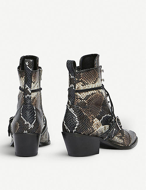 ALLSAINTS Katy snakeskin-effect leather boots