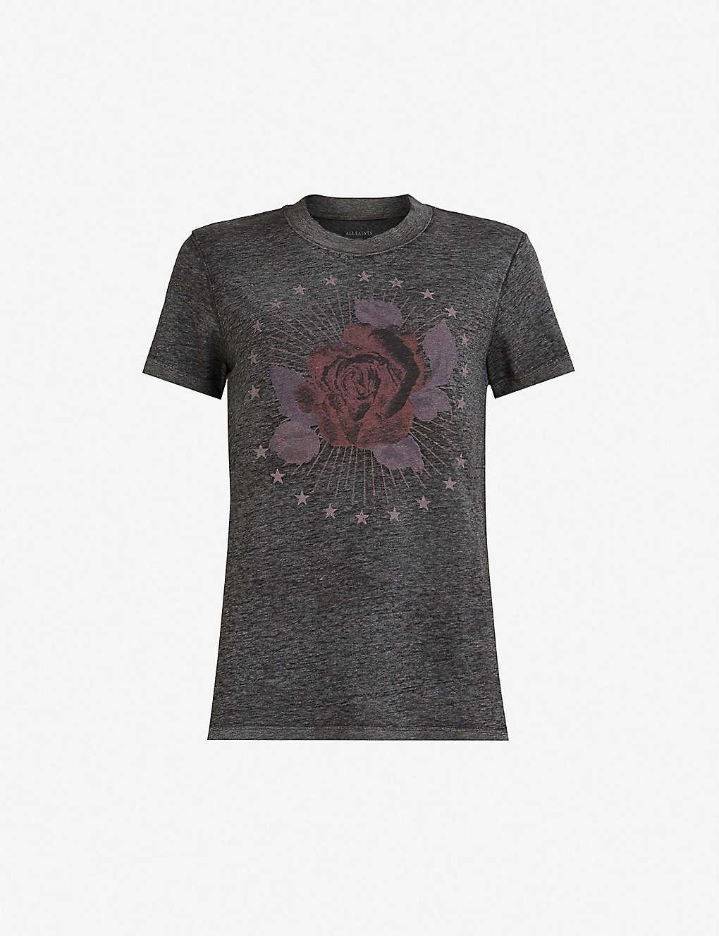 d7250ea01 ALLSAINTS - Eden Imogen rose-print cotton-jersey T-shirt ...