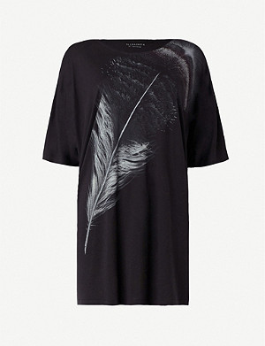 ALLSAINTS Feather Dreams long printed jersey T-shirt