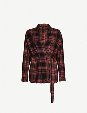 ALLSAINTS RED MIKI CHECK SHIRT XS