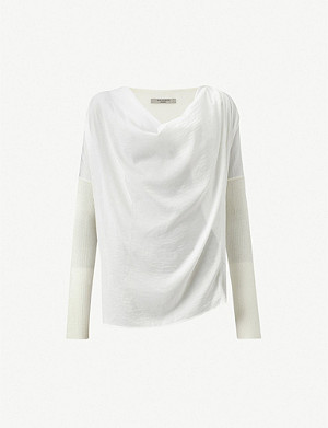 ALLSAINTS Erma satin and cotton-blend knitted jumper