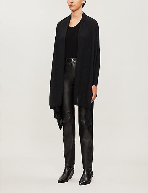 ALLSAINTS Una asymmetric draped knitted cardigan