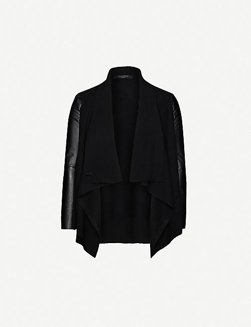 ALLSAINTS: Lucia wool and leather cardigan