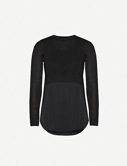 ALLSAINTS Kowlo satin and stretch-knit top