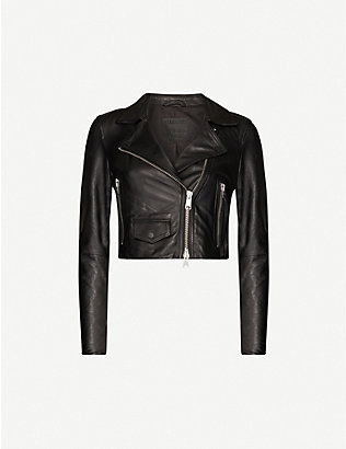 ALLSAINTS: Elora cropped leather jacket