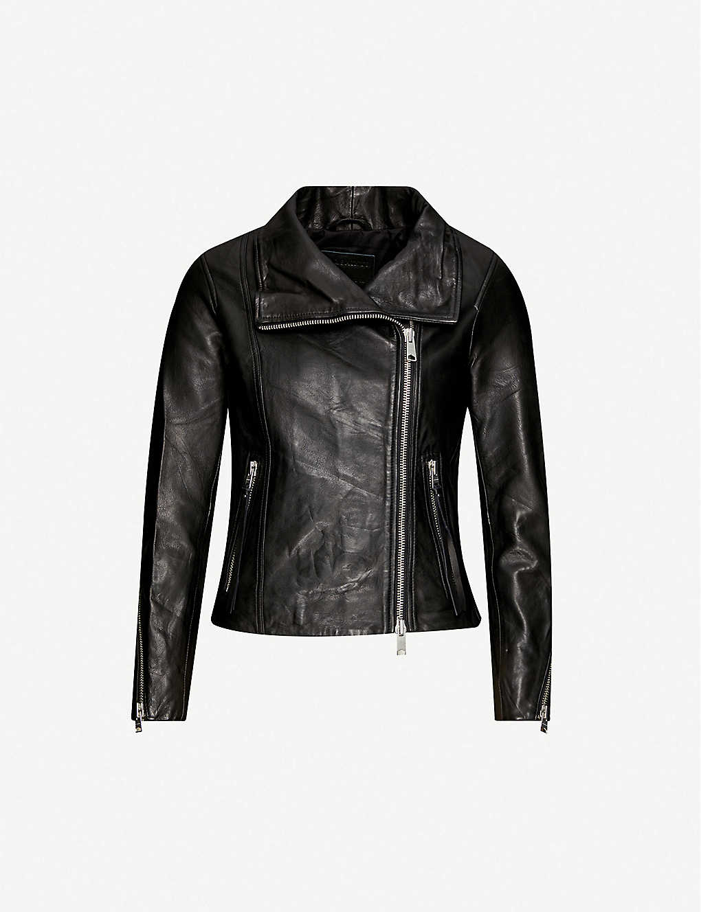 First Ladies Black Leather Biker Jacket with European Scooter Styling