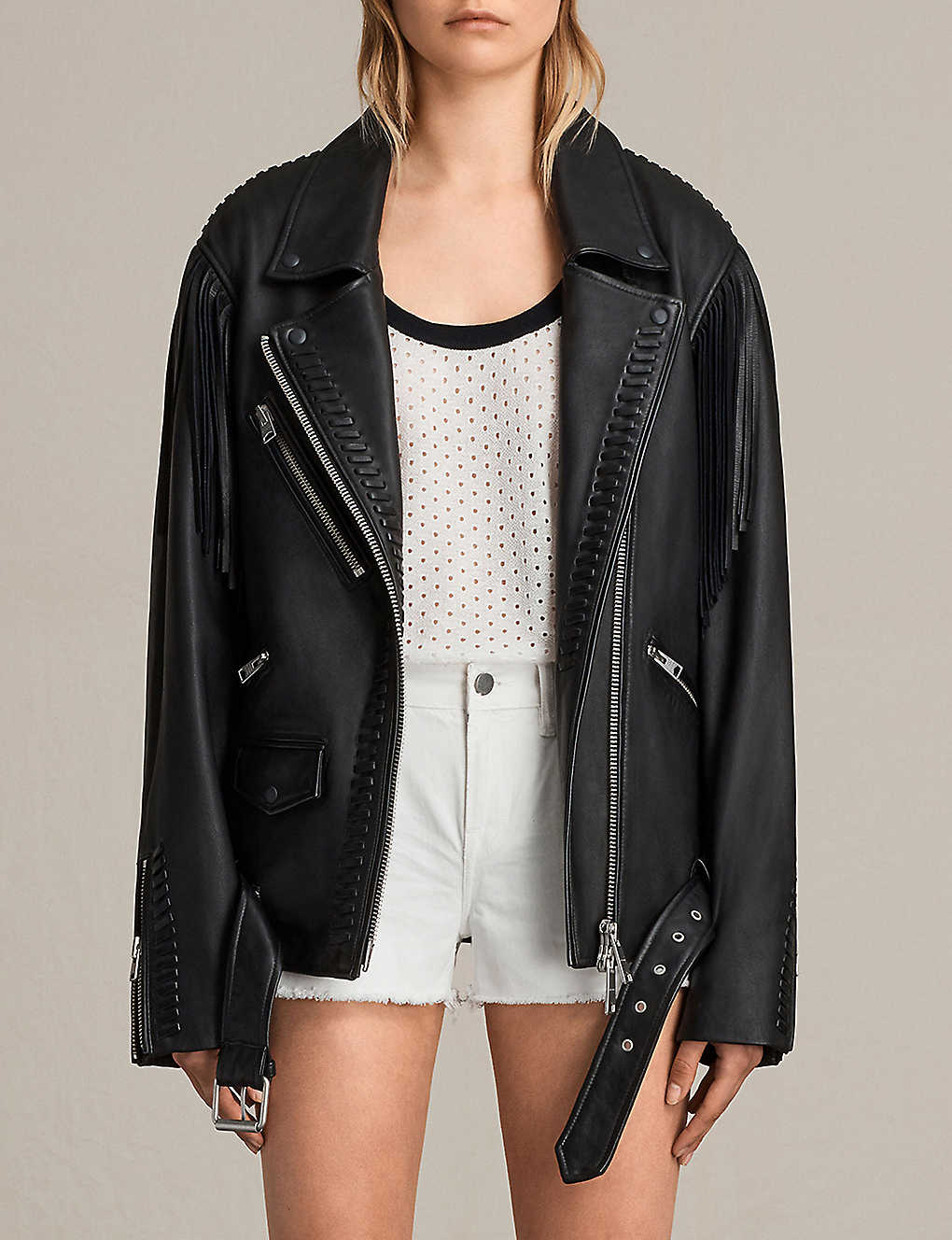 79e10a7d242 ALLSAINTS Trevett leather jacket. Currently unavailable. This product ...