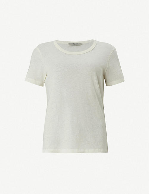 1e620f6c1b9704 ALLSAINTS Feda frayed cotton-jersey T-shirt