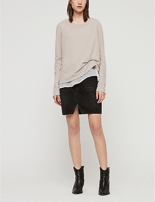 ALLSAINTS Bev Mira sheer-trim cotton and linen-blend T-shirt