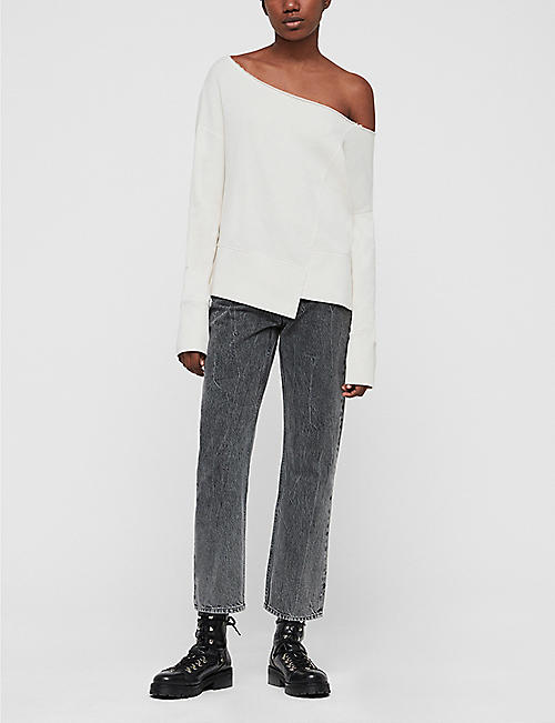 ALLSAINTS Lando off-the-shoulder cotton sweatshirt
