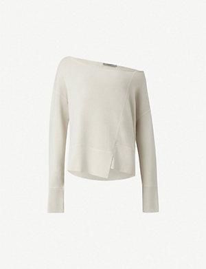 636e6d71279bff ALLSAINTS Lando off-the-shoulder cotton sweatshirt (Ivory+white