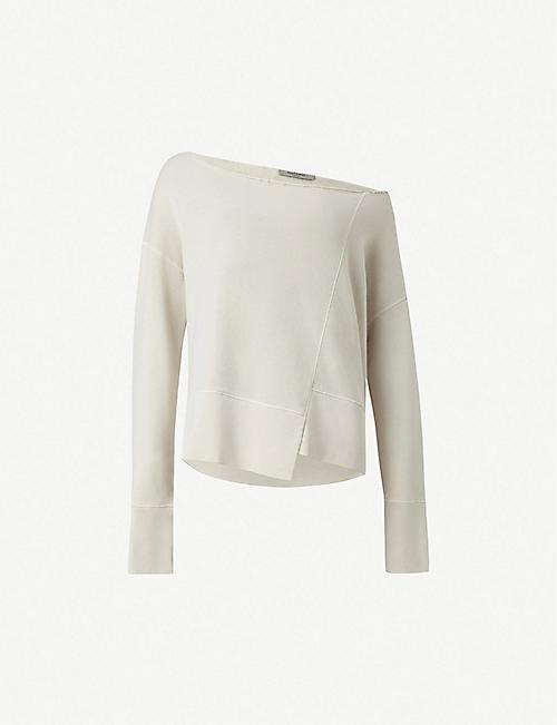 0bb803b469e360 ALLSAINTS Lando off-the-shoulder cotton sweatshirt