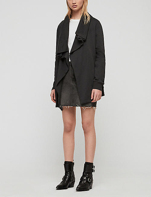 ALLSAINTS Dahlia waterfall-front cotton and modal-blend cardigan