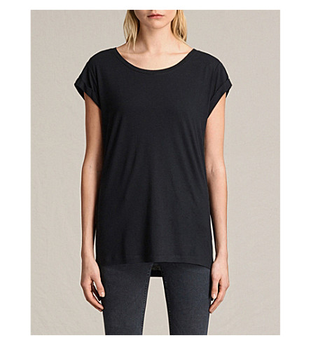 Allsaints Wools Alisee cropped-sleeve jersey T-shirt