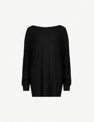 ALLSAINTS Rita Zandy off-the-shoulder metallic-striped knitted top