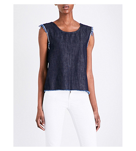 4b4e1273106f ALLSAINTS Frayed sleeveless denim top (Dark+indigo+bl