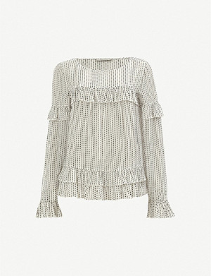 ALLSAINTS Evia frilled long-sleeved woven top
