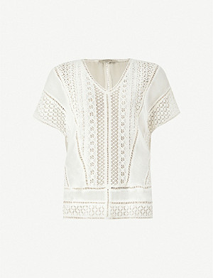ALLSAINTS Cindi short-sleeved guipure-lace top
