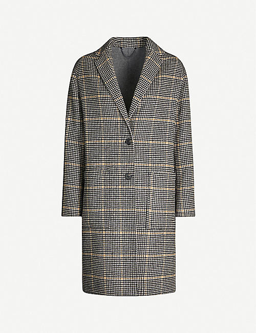 ALLSAINTS Anya Aurora checked wool-blend coat