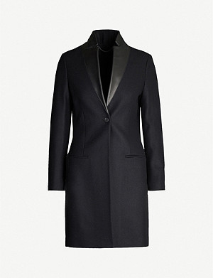 ALLSAINTS Leni leather-lapel wool-blend coat