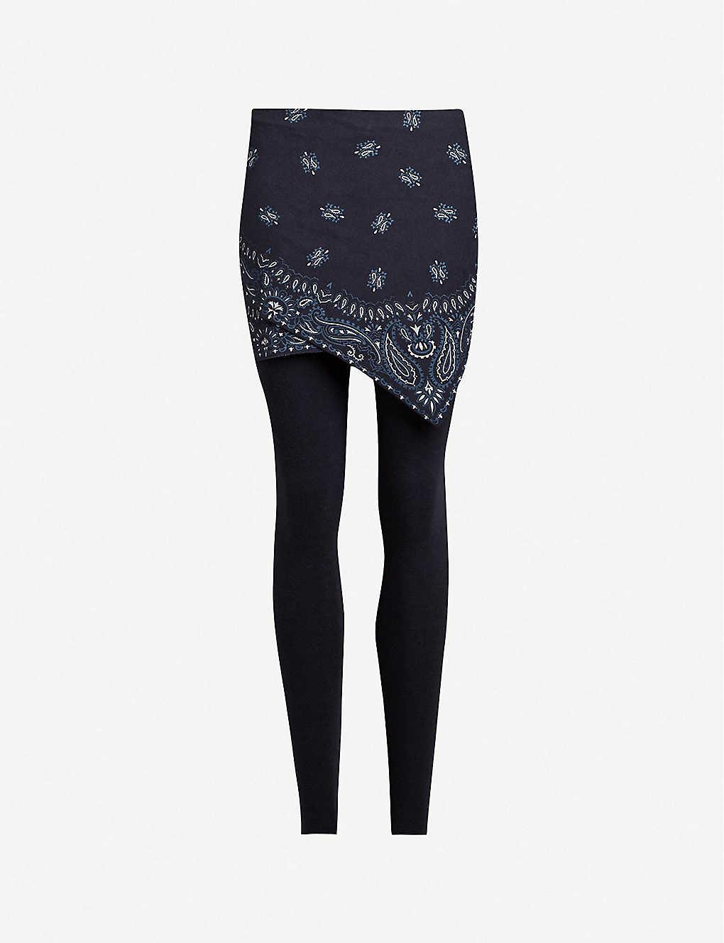 1c44d80fb2b5e ALLSAINTS - Raffi bandana-print skirted cotton-blend leggings |  Selfridges.com