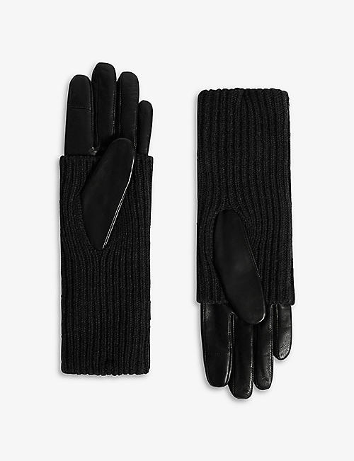 ALLSAINTS: Knitted-cuff leather gloves